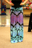 Turquoise & Purple Print Ombre Fold Over Maxi Skirt