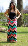Chevron Print Multi Color Maxi Skirt