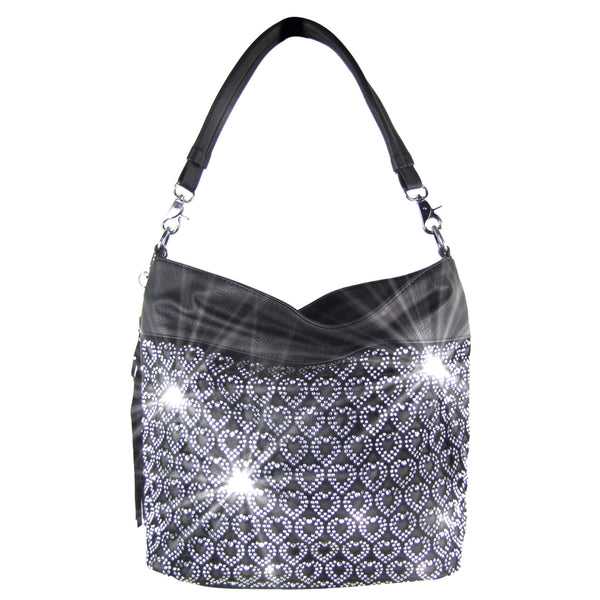 Black Rhinestone Laser Cut Heart Design Handbag