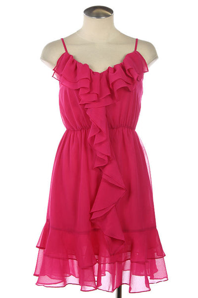 Fuchsia Ruffle Chiffon Dress