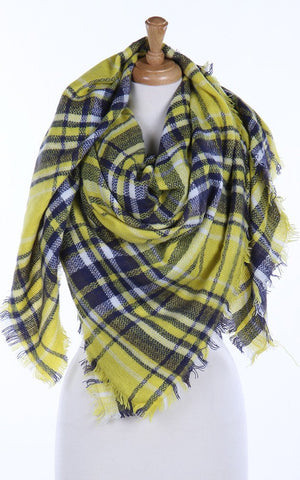 Plaid Oversized Blanket Scarf in Yellow/Navy