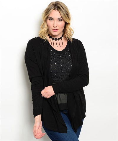 * Bedazzled Plus Size Cardigan & Top Set in Black