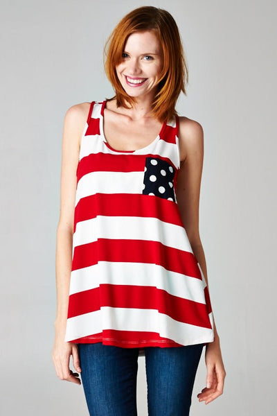 Stars and Stripes Tank Top in Red