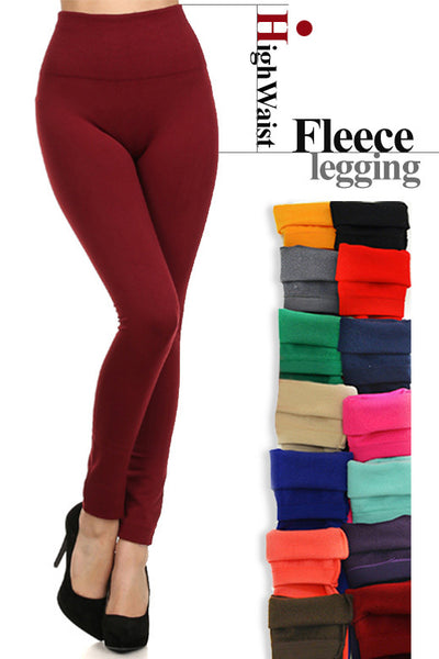 High Waist Solid Fleece Winter Leggings