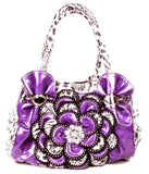 Purple Leopard Rhinestone Flower Fashion Handbag