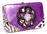 Leopard Purple Flower Clutch Opera Wallet