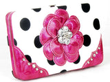 * Polka Dot Pink Flower Clutch Opera Wallet