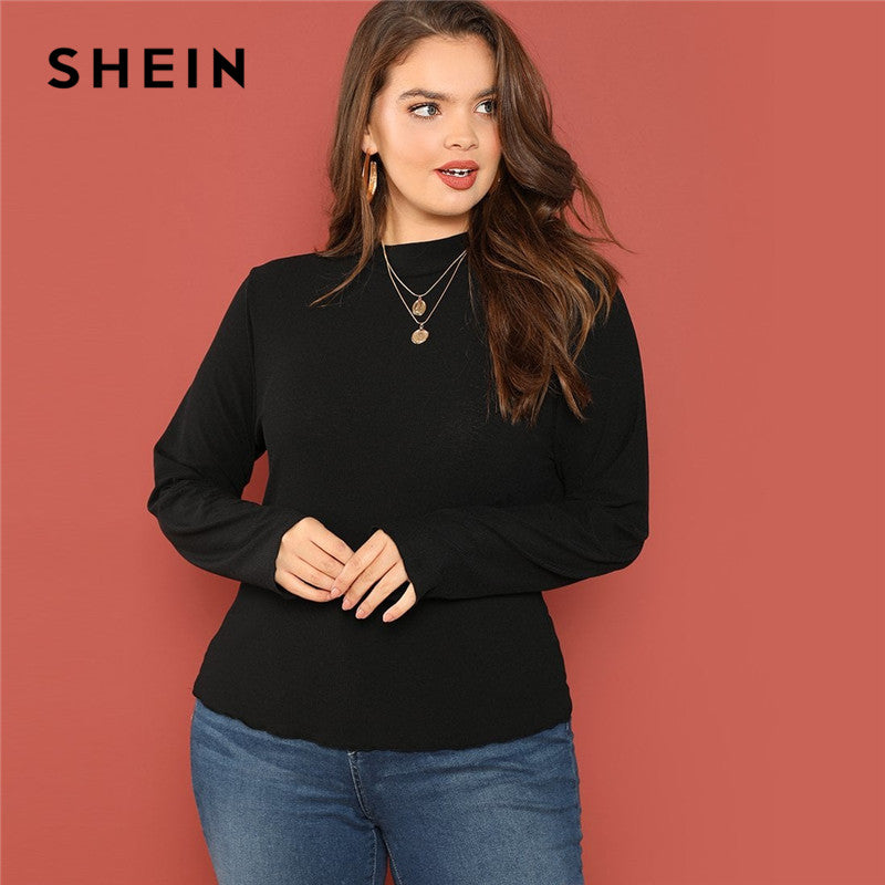 1dfe9d109ba82e SHEIN Casual Plus Size Stand Collar Ribbed Knit Slim Fit Long Sleeve Tees  2018 Mock Neck