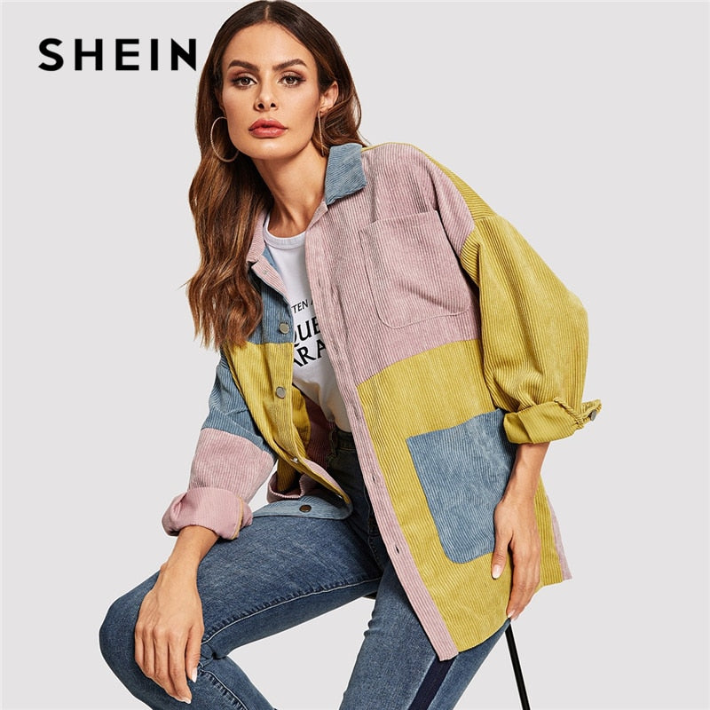 1c8db397e0 SHEIN Casual Multicolor Cut and Sew Pocket Front Corduroy Single Breasted  Coat Autumn Modern Lady Women