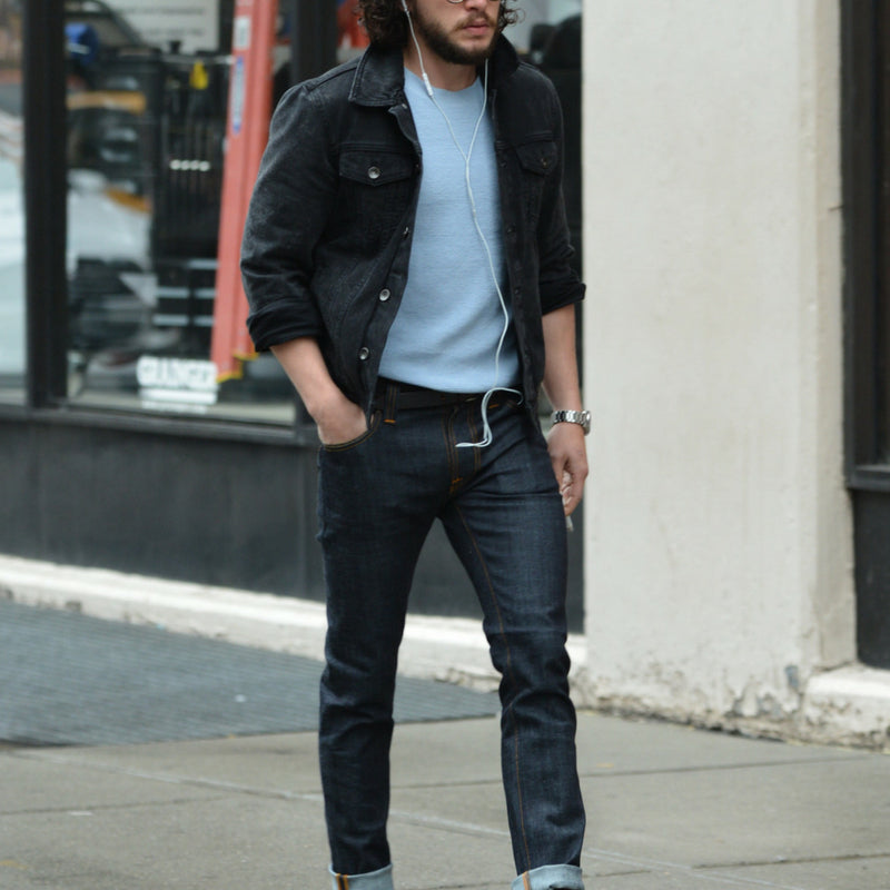 Black Denim Jacket Outfits For Men