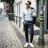 Coolest Ways To Wear Navy Chinos On The Street | Navy Chinos Outfit Ideas