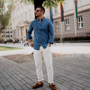Chinos + Casual Shirt Outfits For Men