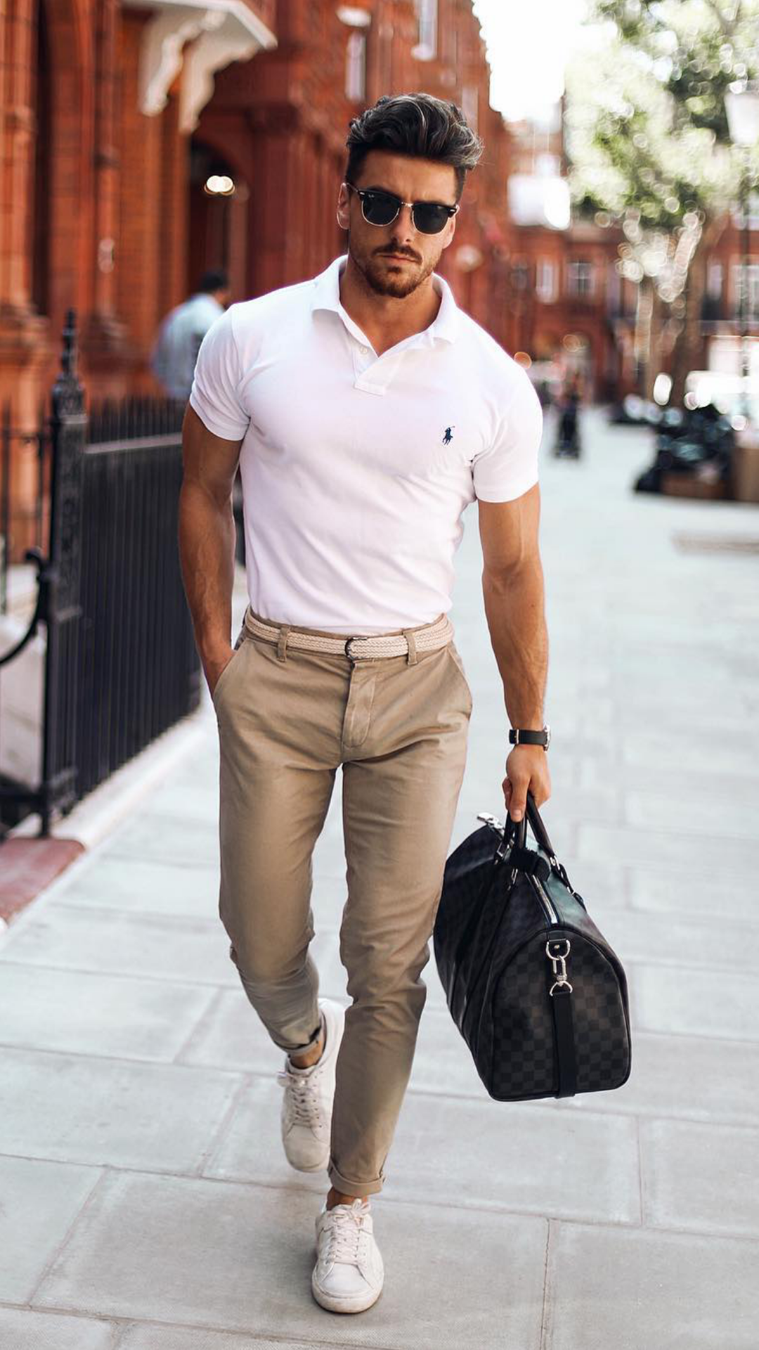 f5c49bede4 Outfit 1. Beige Chinos + White Polo Shirt + White Sneakers