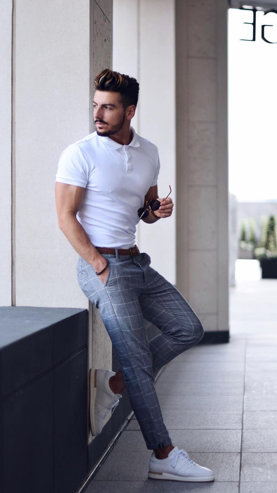 3a11950285 Outfit 3. Grey Check Pants + White Polo Shirt + White Sneakers