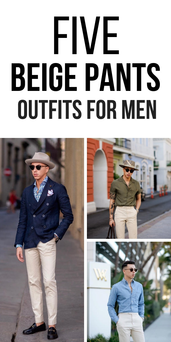 Love wearing beige pants? Look no further. We've curated 5 most amazing beige outfit ideas for men that you won't want to try. #beige #pants #outfits #mens #fashion #street #style