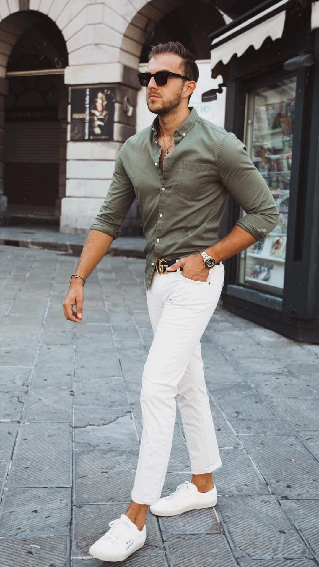 men with cotton shirt on white jeans
