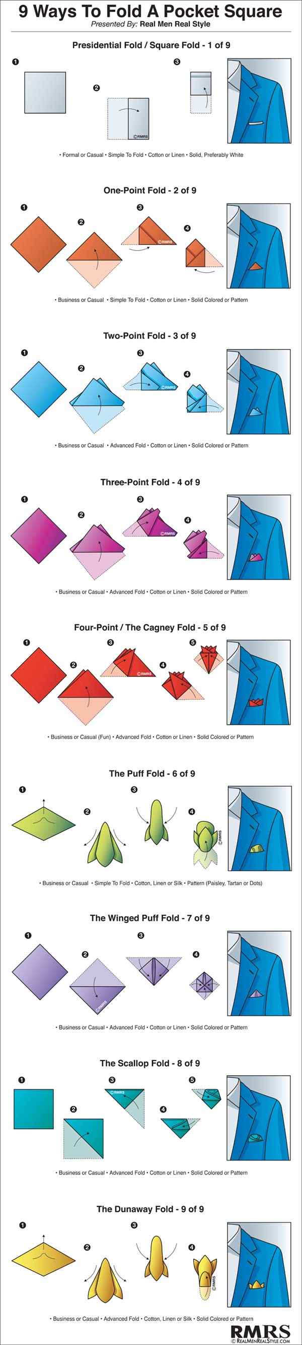 9 Ways To Fold A Pocket Square