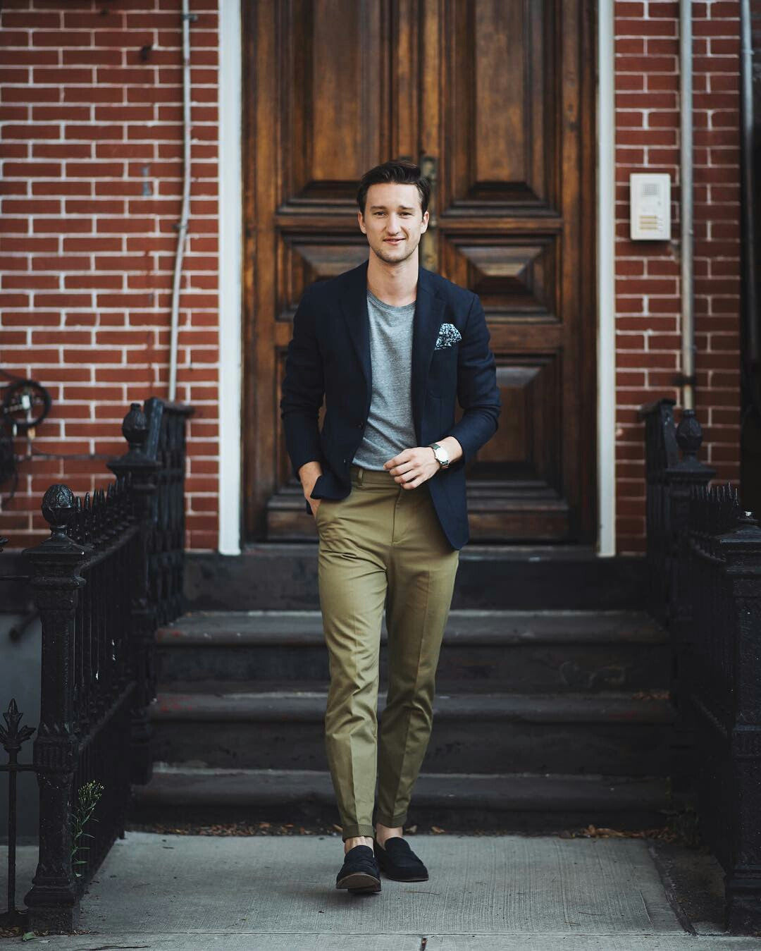 Blazer and t-shirt and chinos look for men