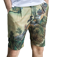 Beige Traditional Eastern Floral Print Shorts Mens PILAEO