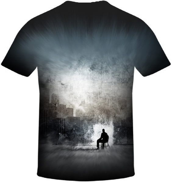 Man in a City Print T-Shirt