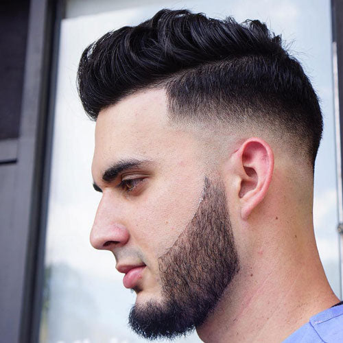 Bald Fade + Quiff + Cool Beard Design