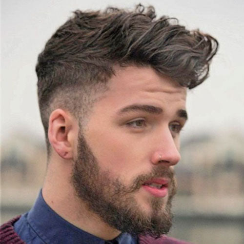 Taper + Messy Long Fringe + Beard