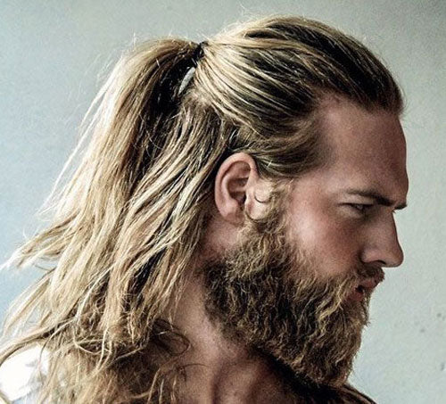 Long Hair + Man Ponytail + Full Beard