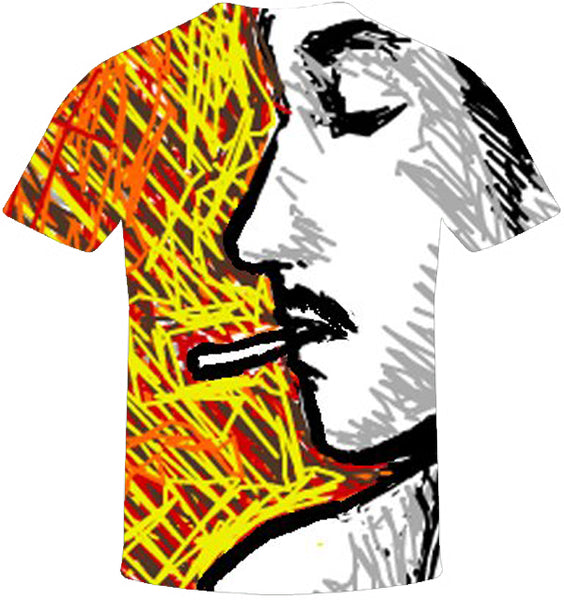 Smoking Man Print T-Shirt