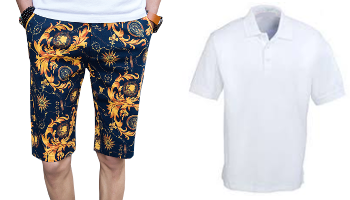 Luxury Gold Antique Floral Print Shorts And White Polo Shirt PILAEO
