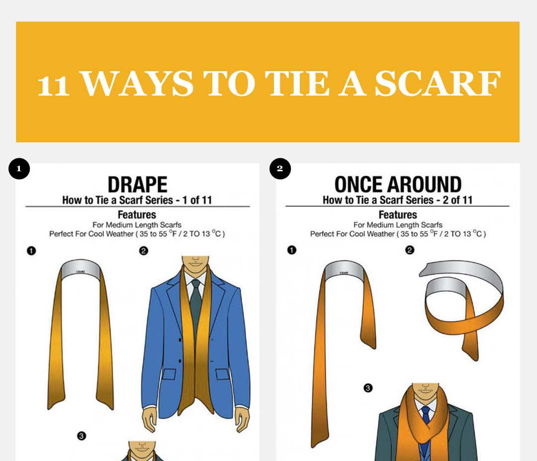 11 Simple Ways to Tie a Scarf - Illustrations