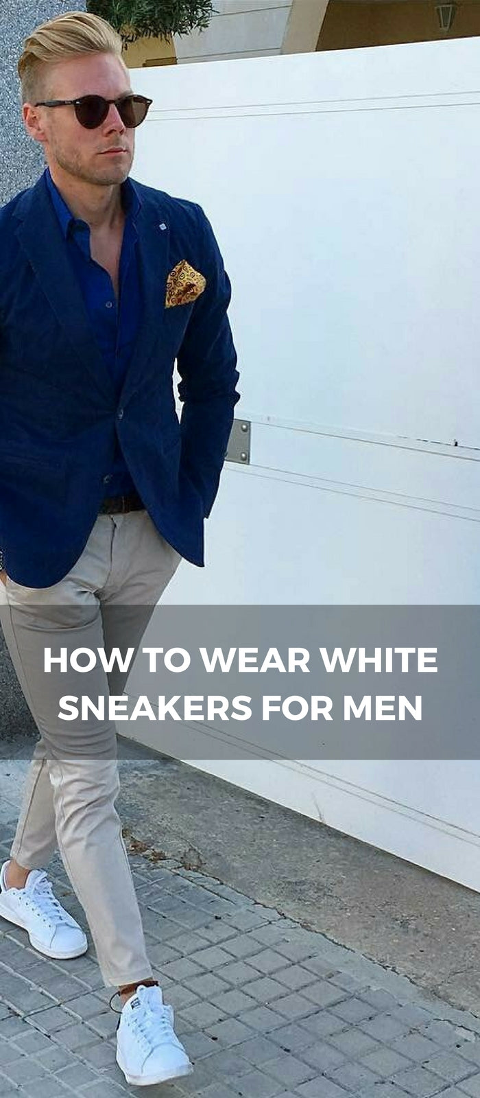 How to dress up white sneakers for men