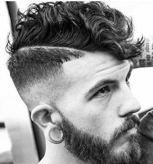 High Fade with Hard Part and Curly Hair