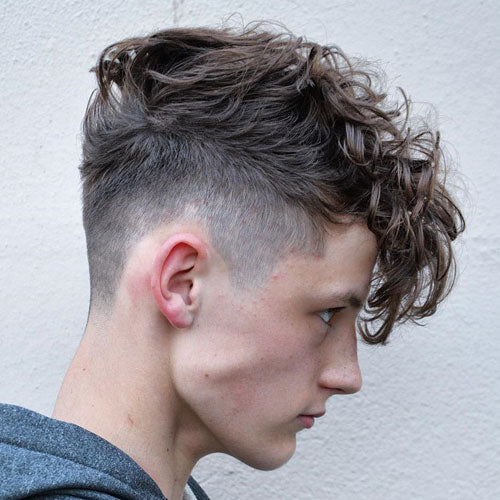 High Fade Long Curly Fringe