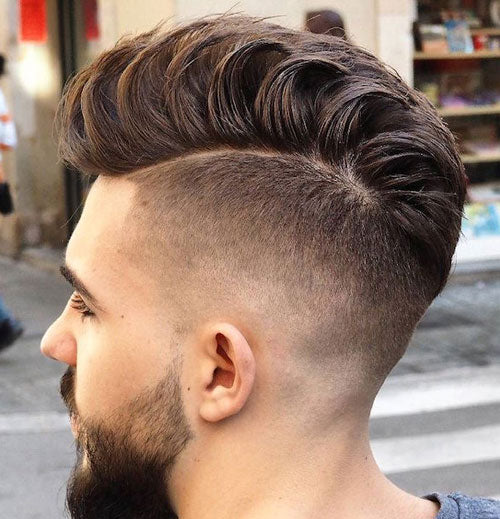 High Fade with Loose Pompadour