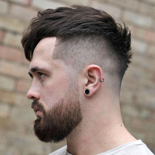 Cool Menu0027s Hairstyles For 2018. 1. High Fade Textured Fringe Beard