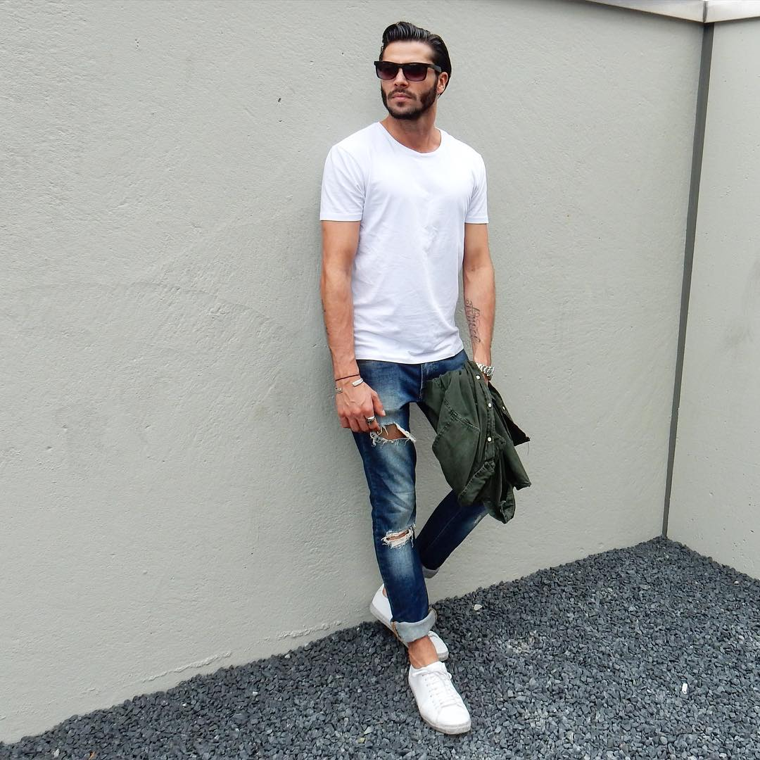 7 ways to wear your basic white t shirt like a fashion for White shirt outfit mens