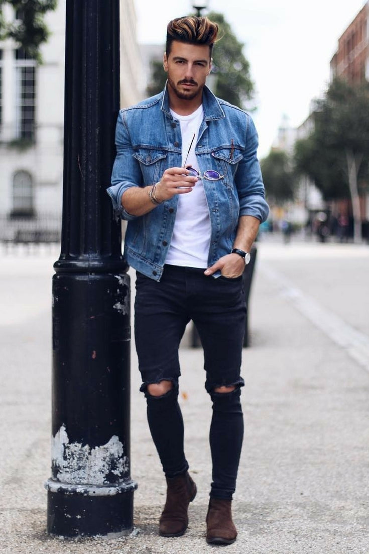 Jean Jacket Outfits For Men jean jacket outfits street style