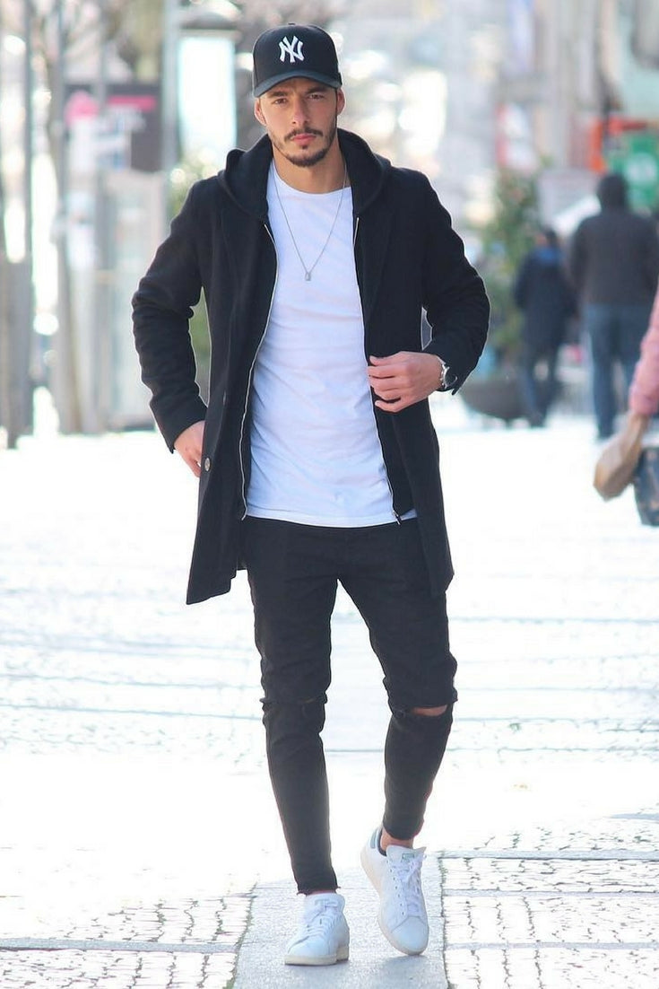 Black Ripped Jeans + White Crew Neck Tee + Black Overcoat. How to wear long  coats for men