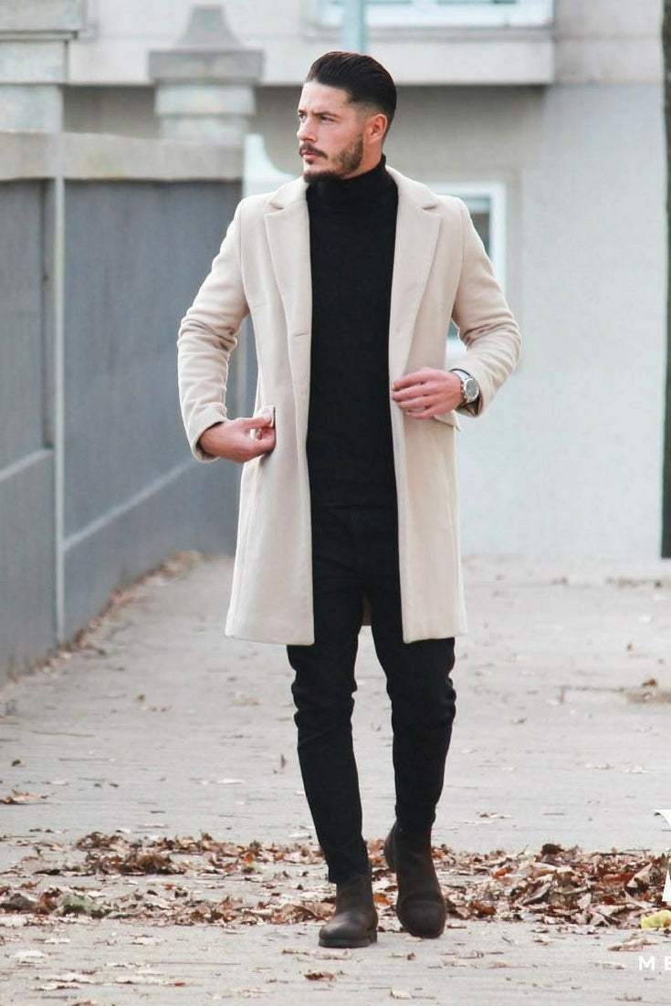 2a17e718173 How to wear long coats for men. Overcoat outfits for men ...