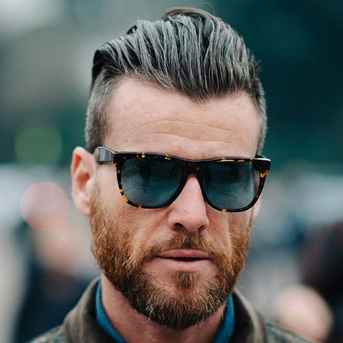 Long Slicked Back Undercut with Thick Beard