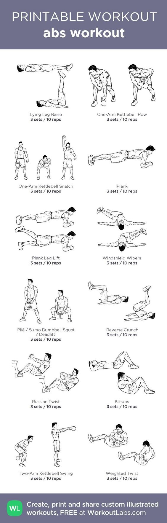 picture relating to Printable Workout Plans for Men titled Mens Conditioning - Mens Abdominal muscles Work out (10 Charts) Daily life Via PS