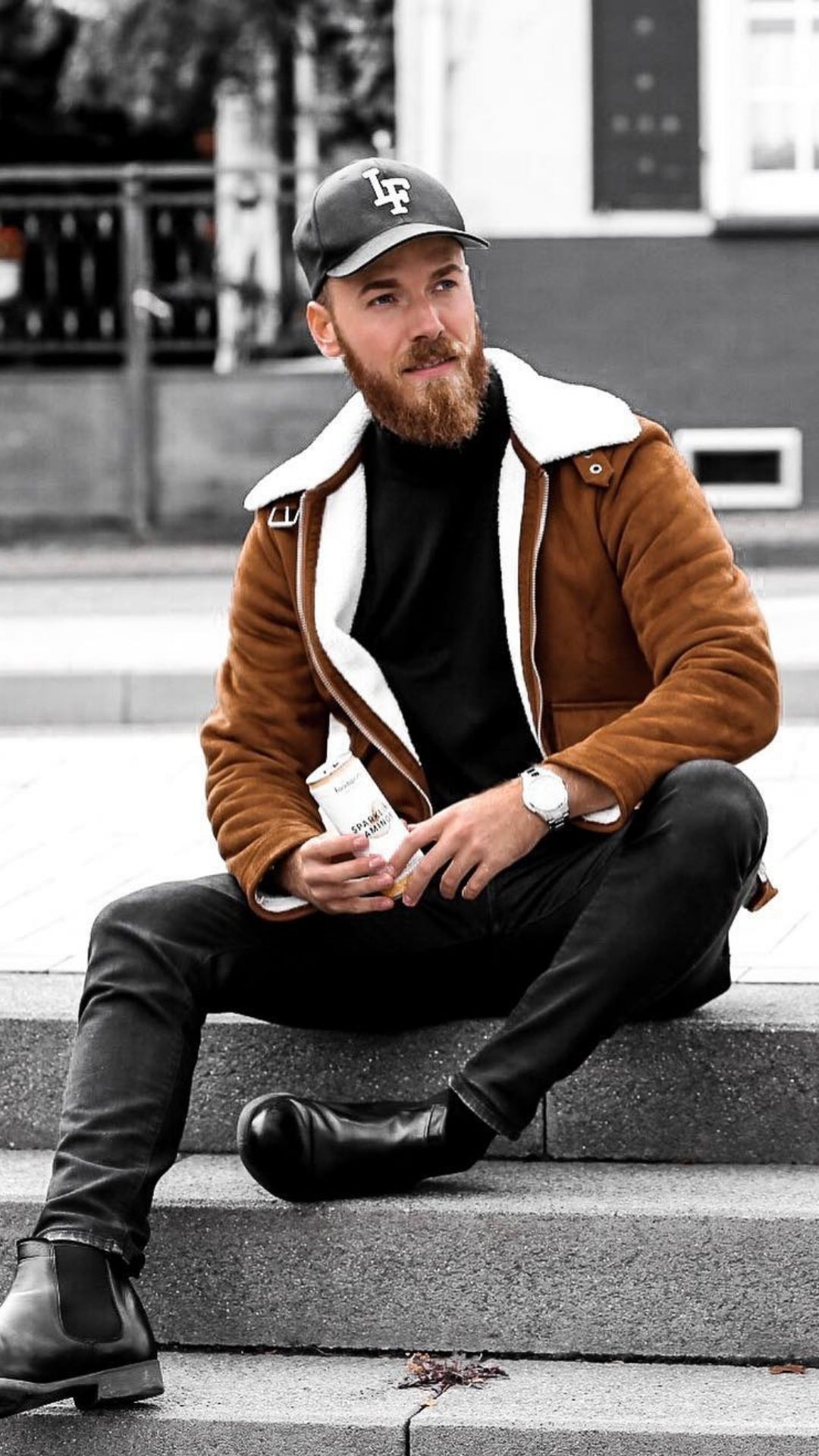 Looking for some cool street style inspo? Look no further. Follow this guy and copy how he dresses to look your best. #street #style #mens #fashion