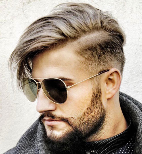 Mid Fade With Side Part And Long Fringe