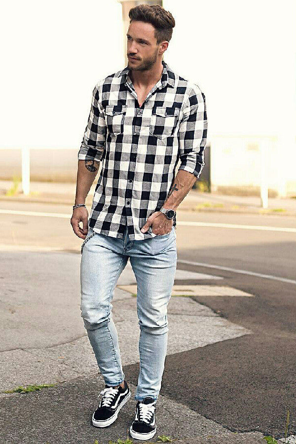 Jeans and casual shirt outfits for men
