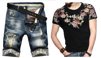 Dapper Floral Print Denim Ripped Shorts And T-Shirt PILAEO