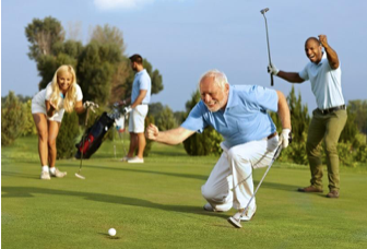 Athletes from various sports sitting on a bench, golfers celebrating a good putt, physical therapist treating a patient using an exercise band, athlete receiving manual therapy, woman performing a bridge/strengthening exercise, patient receiving treatment from a physical therapist, athletes from various sports shown in action