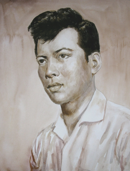 Sepia tinted watercolor portrait of a man with dark hair and dark eyes