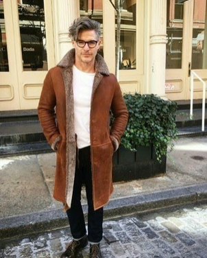 Shearling Coat With T-shirt