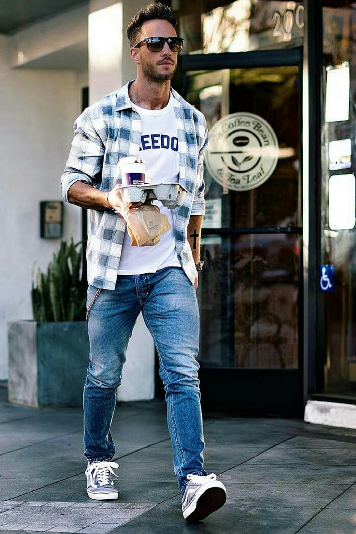 ceade6ed0f82 Washed Denim + White Graphic Print Tee + Check Shirt + Sneakers. summer  outfit ...