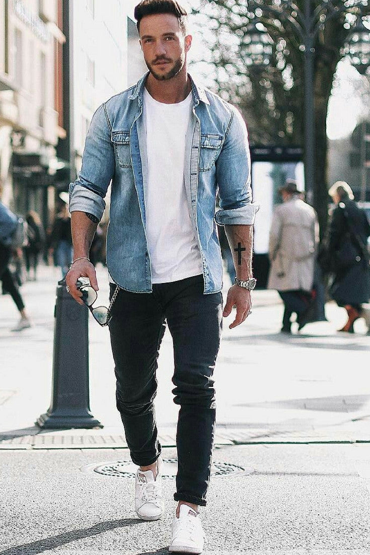 78577e59aa19 Denim Shirt + White Crew Neck Tee + Black Jeans + White Sneakers. summer  outfit ...